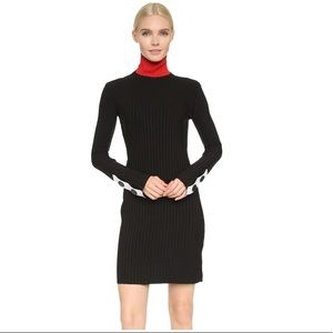 EDUN Ribbed Turtleneck Dress Black/Red Size Med